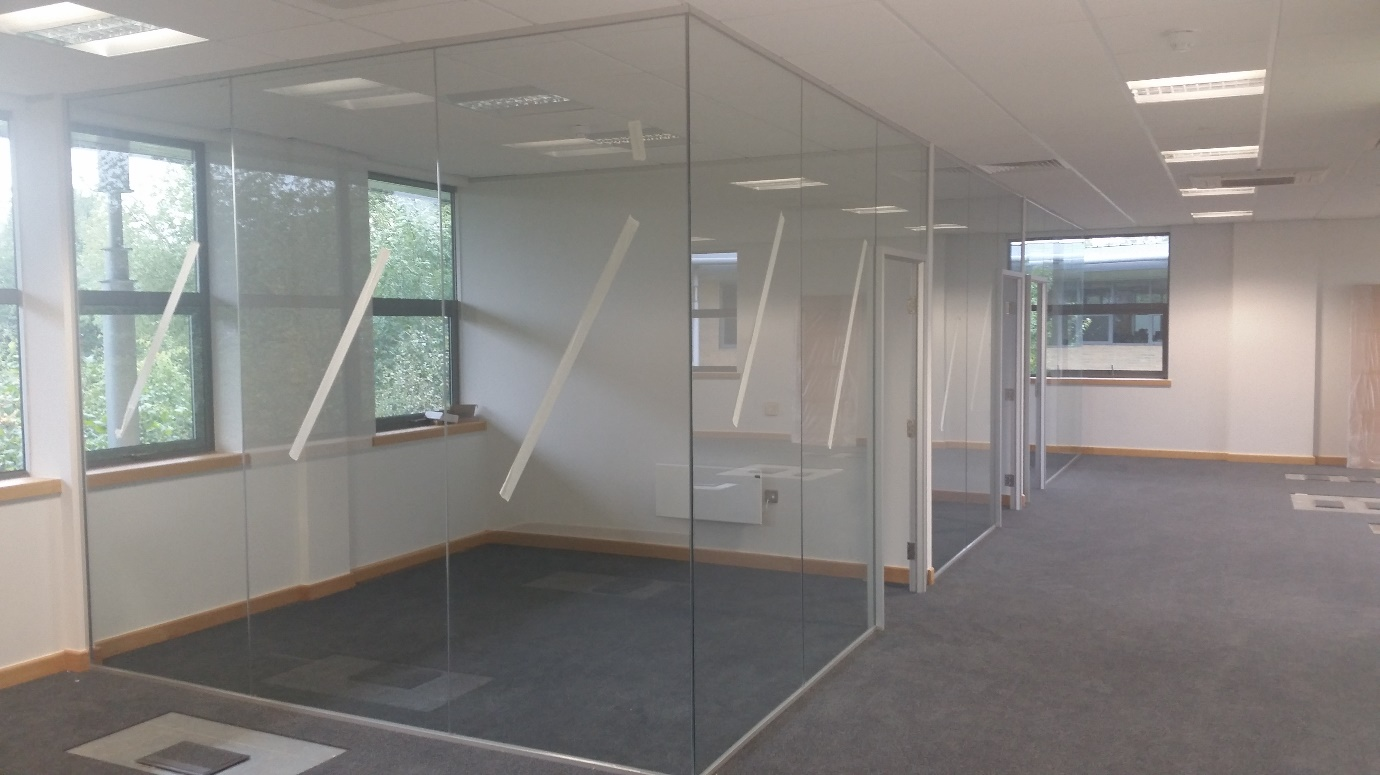 Frameless Glass Partition Complete with framed timber doors