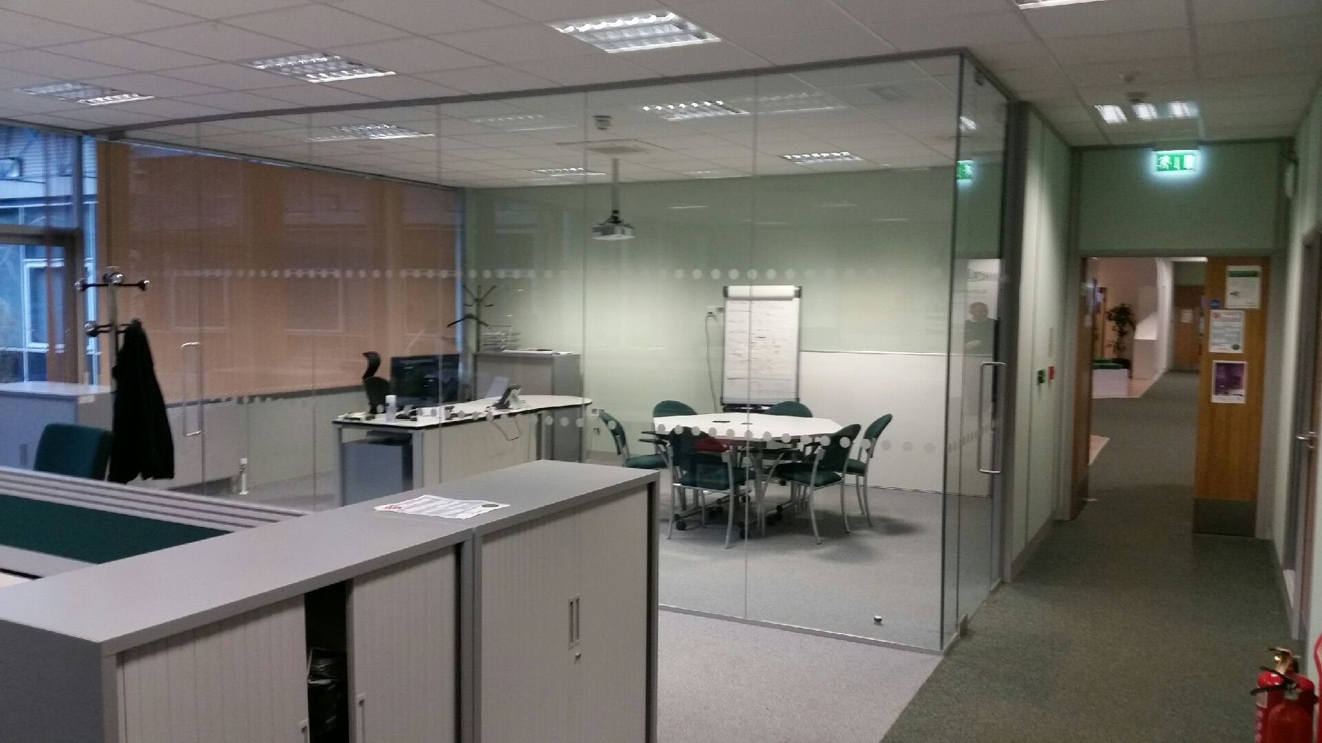 Single Glazed Partition with two full height doors.