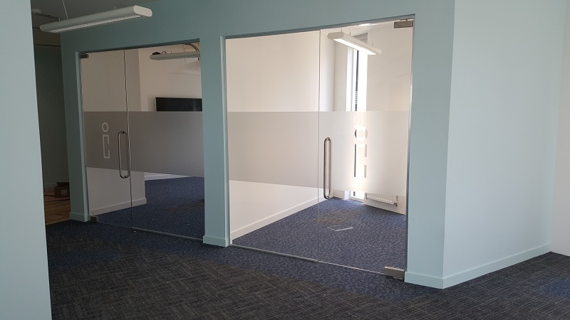 Single Glazed Partitions With Full Height Doors